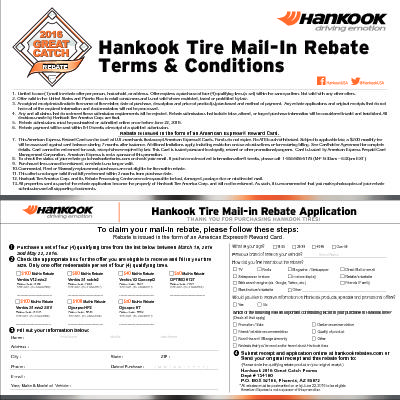 Hankook 2016 Great Catch Rebate Form | Wayne's Tire & Auto Repair