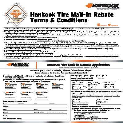 Hankook Rebate Form | Wayne's Tire & Auto Repair